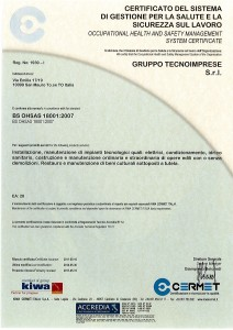 Certificato OHSAS 18001 del 30-05-2014
